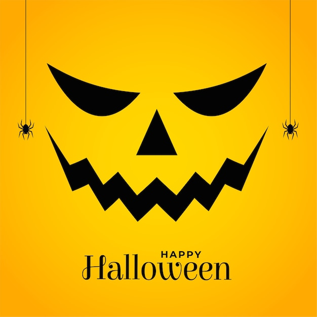 Beängstigendes halloween-kürbisgesicht auf gelbem hintergrund Kostenlosen Vektoren