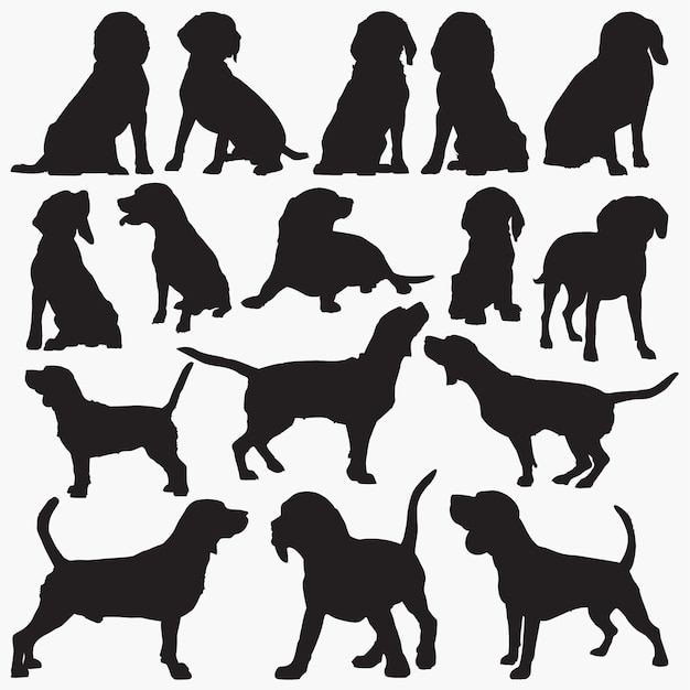 Beagle hund silhouetten Premium Vektoren