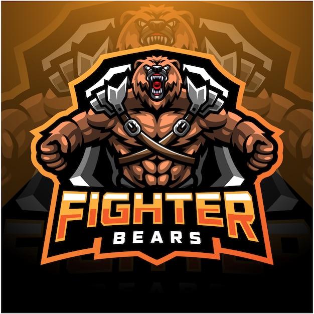Bear fighter esport maskottchen logo Premium Vektoren