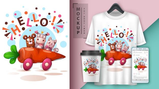 Bear, rhino, cat - reisen im auto. t-shirt design Premium Vektoren