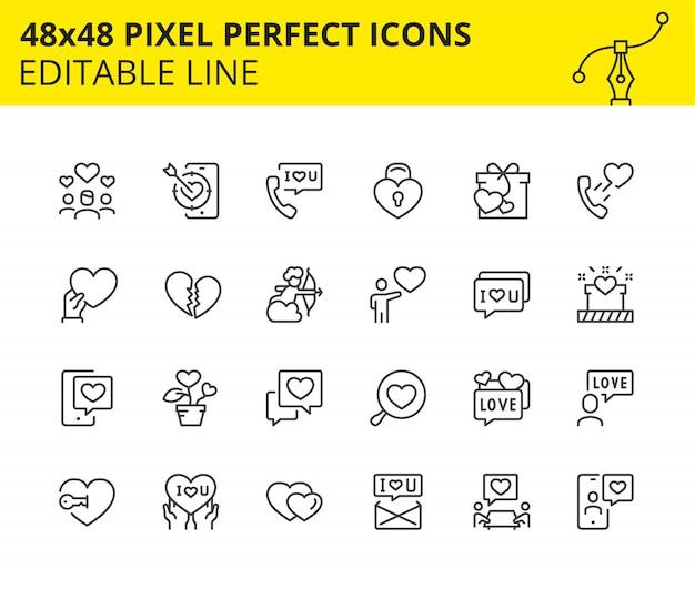Bearbeitbare ikonen des valentinstags Premium Vektoren
