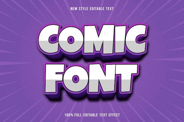 Bearbeitbare texteffekt-comic-schriftfarbe weiß und lila Premium Vektoren