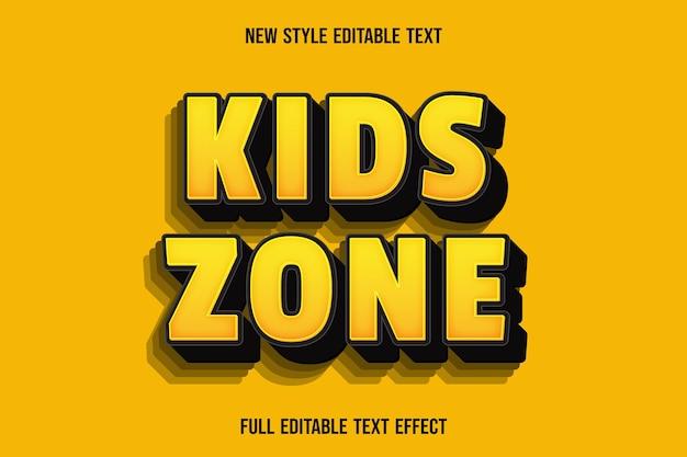 Bearbeitbare texteffekt-kinderzonenfarbe gelb und schwarz Premium Vektoren