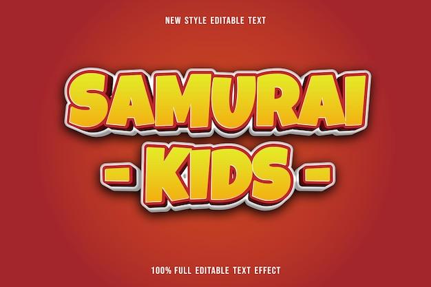 Bearbeitbare texteffekt samurai kinder farbe gelb und rot weiß Premium Vektoren