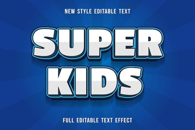 Bearbeitbare texteffekt super kids farbe weiß und blau Premium Vektoren