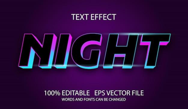 Bearbeitbare texteffektnachtvorlage Premium Vektoren