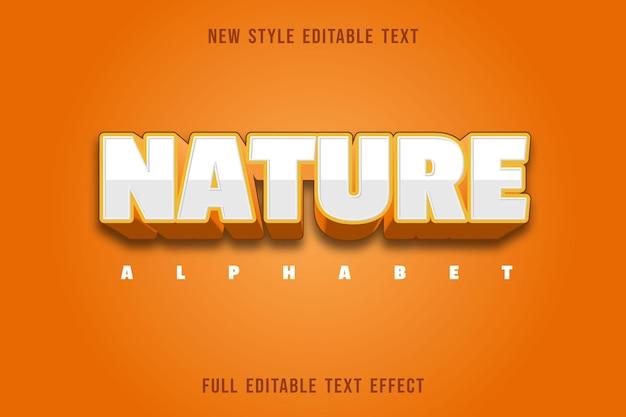 Bearbeitbare texteffektnaturalphabetfarbe weiß und orange Premium Vektoren