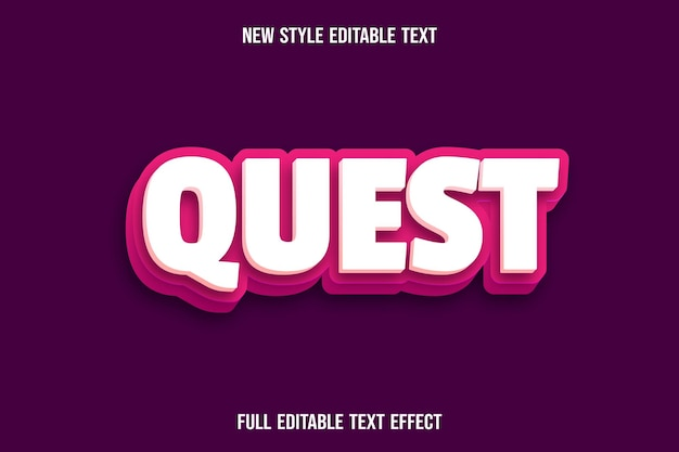 Bearbeitbare texteffektquestfarbe creme und rosa Premium Vektoren