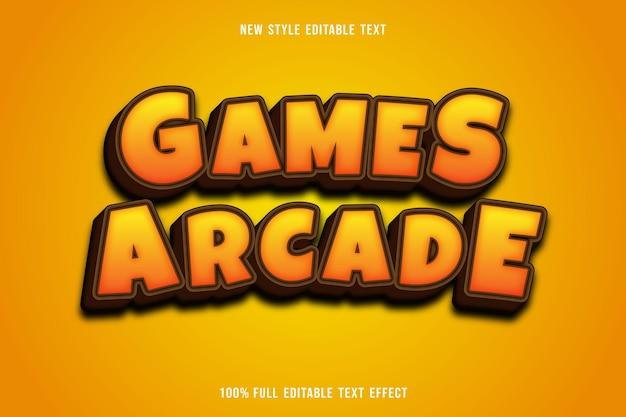 Bearbeitbare texteffektspiele arcade-farbe gelb und braun Premium Vektoren