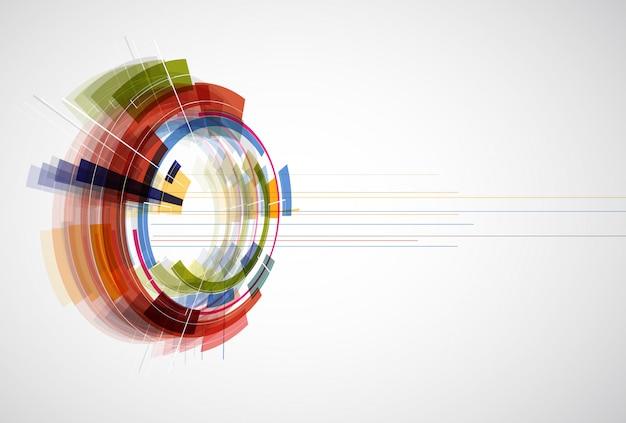 Bearbeitbarer dynamischer hintergrund der abstrakten hellen technologie Premium Vektoren