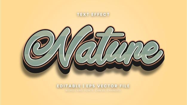 Bearbeitbarer natur-vintage-stil-texteffekt Premium Vektoren
