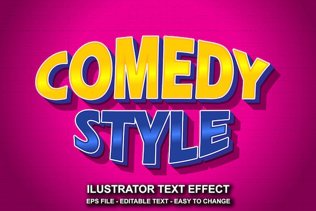 Bearbeitbarer text-effekt-comedy-stil Premium Vektoren