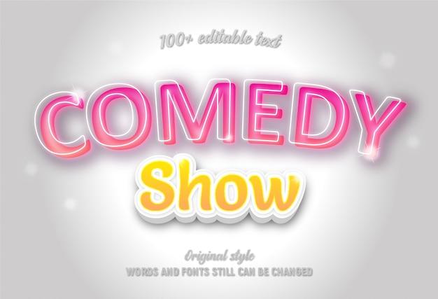 Bearbeitbarer text über comedy zeigt rosa und gelbe farbe mit farbverlauf. Premium Vektoren