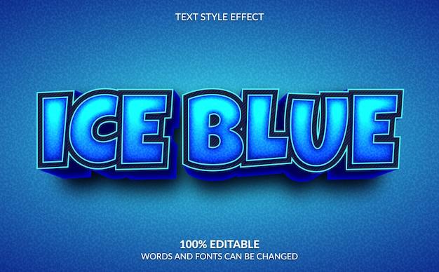Bearbeitbarer texteffekt, 3d ice blue text style Premium Vektoren