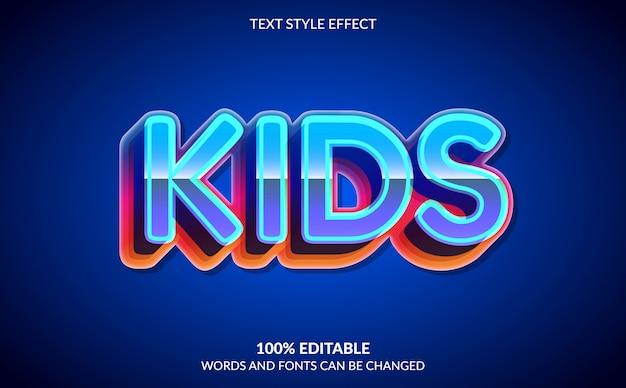Bearbeitbarer texteffekt, bunter kindertextstil Premium Vektoren