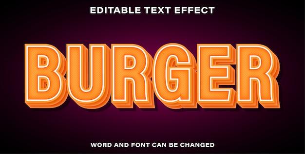 Bearbeitbarer texteffekt-burger Premium Vektoren