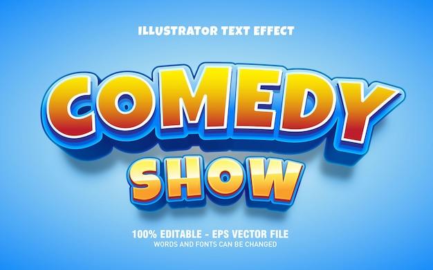 Bearbeitbarer texteffekt, comedy-show im titelstil Premium Vektoren