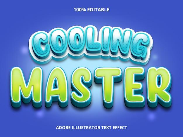 Bearbeitbarer texteffekt - cooling master-titelstil Premium Vektoren
