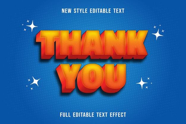 Bearbeitbarer texteffekt danke farbe gelb und orange Premium Vektoren