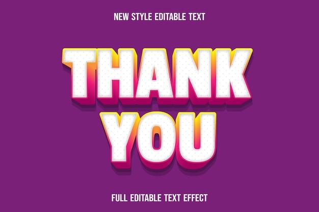 Bearbeitbarer texteffekt danke farbe weiß und gelb rosa Premium Vektoren