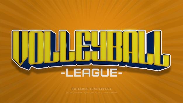 Bearbeitbarer texteffekt der volleyball-typografie Premium Vektoren