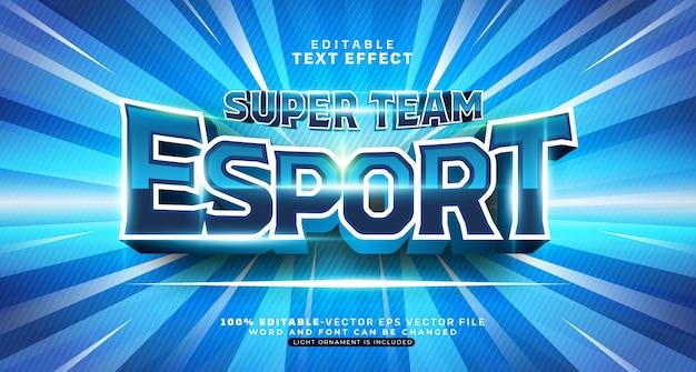 Bearbeitbarer texteffekt des blauen esport-teams Kostenlosen Vektoren