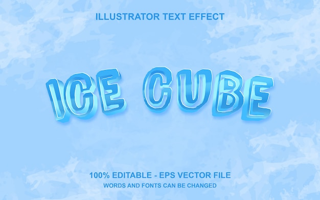 Bearbeitbarer texteffekt ice cube Premium Vektoren