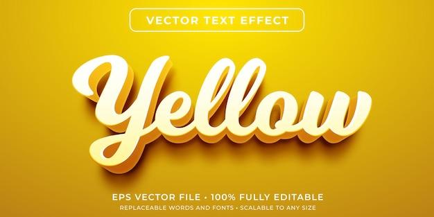 Bearbeitbarer texteffekt im gelben kursivstil Premium Vektoren