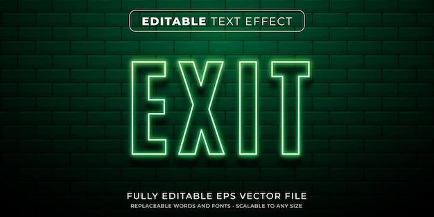Bearbeitbarer texteffekt im grünen leuchtreklamenstil Premium Vektoren