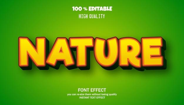 Bearbeitbarer texteffekt im natur-cartoon-stil Premium Vektoren