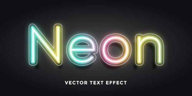 Bearbeitbarer texteffekt in neon Premium Vektoren