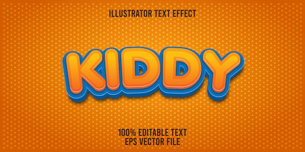 Bearbeitbarer texteffekt kiddy Premium Vektoren