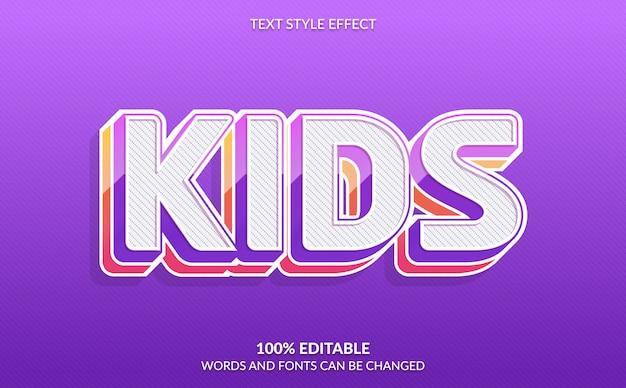 Bearbeitbarer texteffekt, kindertextstil Premium Vektoren