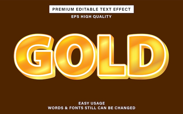 Bearbeitbarer texteffekt mit goldfarbe Premium Vektoren