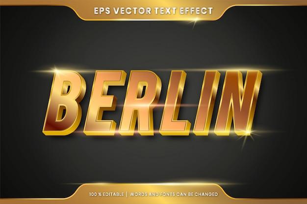 Bearbeitbarer texteffekt - modellkonzept im berliner goldtextstil Premium Vektoren
