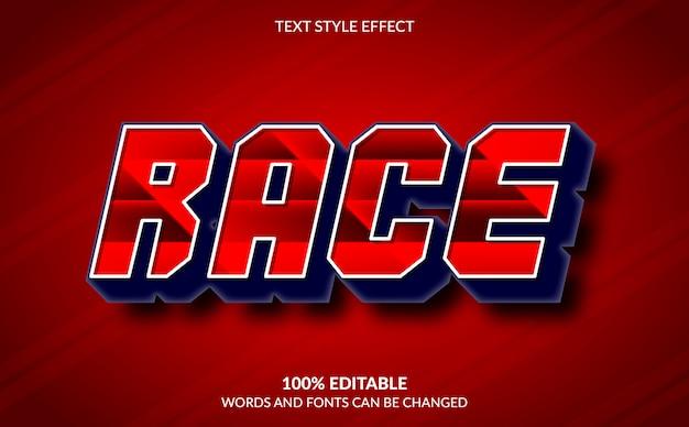 Bearbeitbarer texteffekt, racing red text style Premium Vektoren