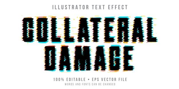 Bearbeitbarer texteffekt - schwarzer glitch-stil Premium Vektoren