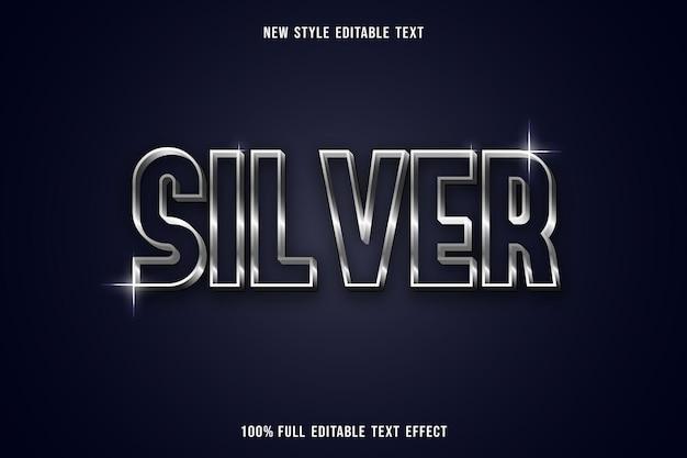 Bearbeitbarer texteffekt silber in weiß und grau Premium Vektoren