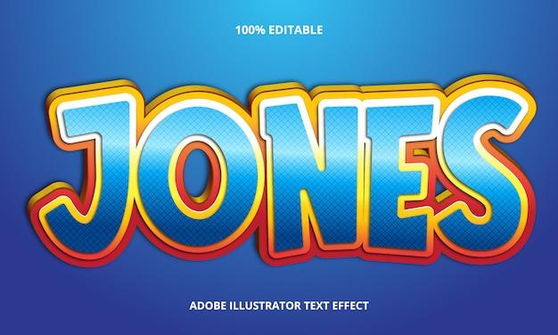 Bearbeitbarer texteffekt - titelstil von blue jones Premium Vektoren
