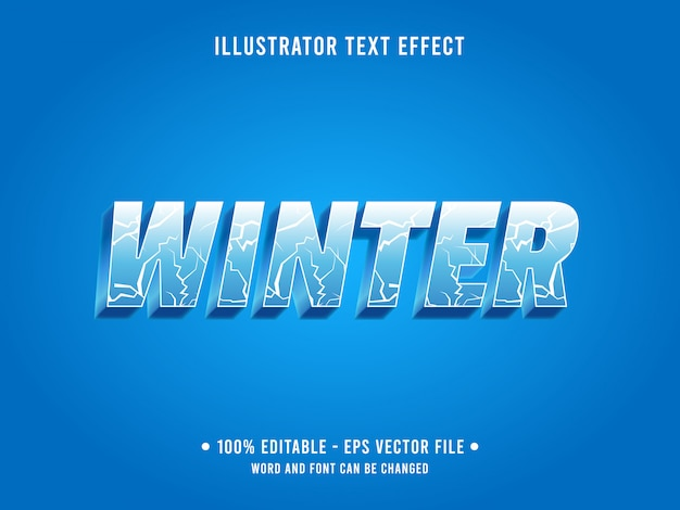 Bearbeitbarer texteffektschablonen-eisriss-winterstil Premium Vektoren