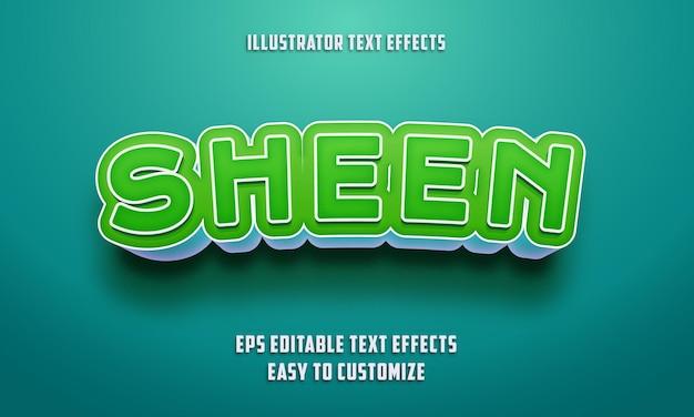 Bearbeitbarer texteffektstil auf grün und himmelblau Premium Vektoren