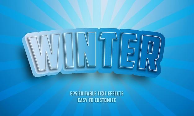 Bearbeitbarer texteffektstil des 3d-winters Premium Vektoren