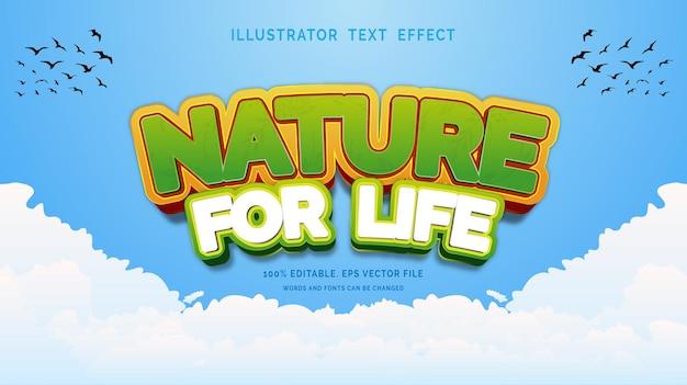 Bearbeitbarer texteffektstil natur fürs leben Premium Vektoren