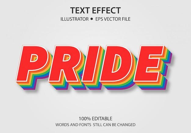 Bearbeitbarer textstil-effekt-stolz Premium Vektoren