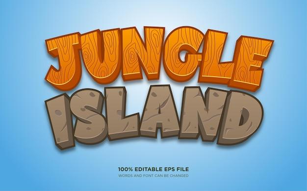 Bearbeitbarer textstileffekt von jungle island Premium Vektoren
