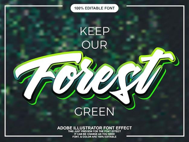 Bearbeitbarer typografie-gusseffekt des modernen grünen skriptes Premium Vektoren