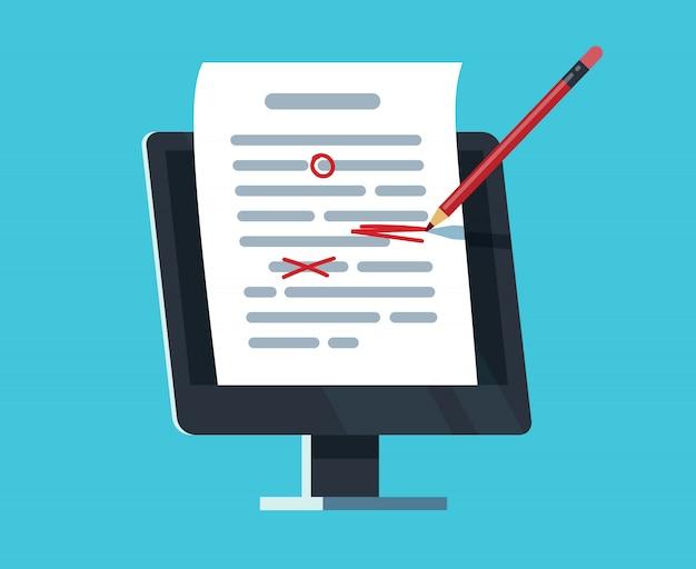 Bearbeitbares online-dokument. computerdokumentation, verfassen und redigieren von aufsätzen. texter und texteditor Premium Vektoren