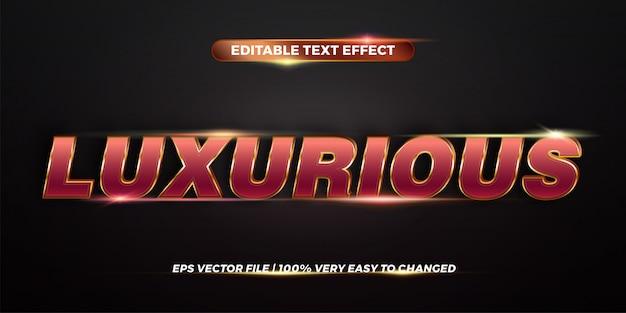 Bearbeitbares texteffekt-stilkonzept - rotgold-verlaufsfarbe von luxuriösen wörtern Premium Vektoren
