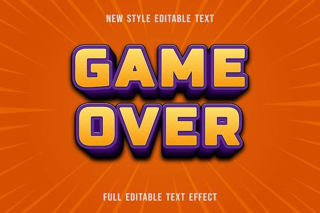 Bearbeitbares texteffektspiel über farbe gelb und lila Premium Vektoren