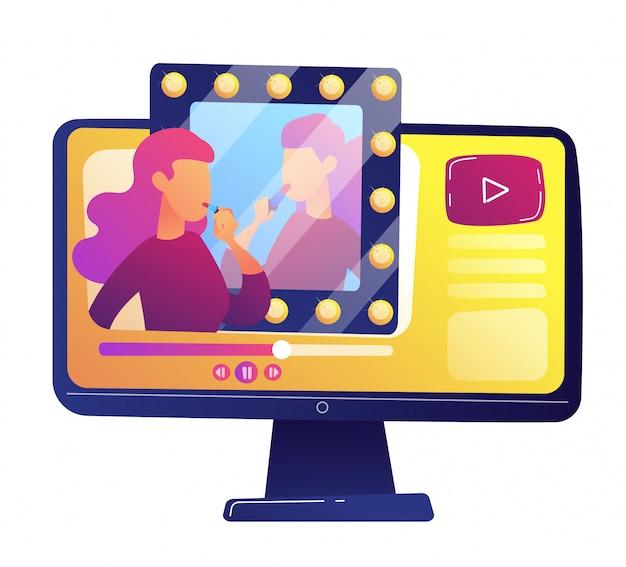 Beauty blogger video bewertung vektor-illustration. Premium Vektoren